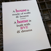 New Home Moving House letterpress print