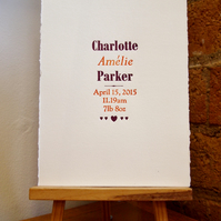 Custom Order letterpress birth announcement or name print