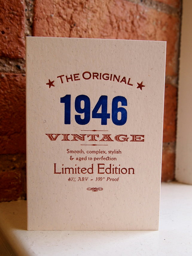 1946 70 seventy letterpress birthday card invitations