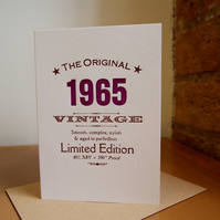 1965 fifty something letterpress birthday card