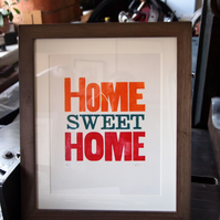 Home Sweet Home letterpress print, a perfect gift