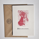Hen Chicken Woodcut letterpress card blank inside for your own message