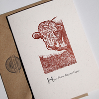 How Now Brown Cow Woodcut letterpress card blank inside for your own message