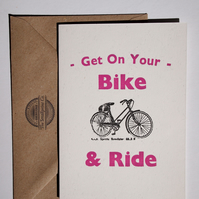 On Your Bike letterpress greetings card