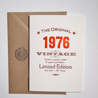 40 Fortieth 1976 letterpress birthday card