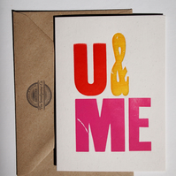 U & ME vintage wood type letterpress card