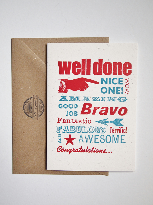 Well Done Congratulations letterpress card greetings