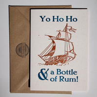 Yo Ho Ho and a Bottle of Rum letterpress card