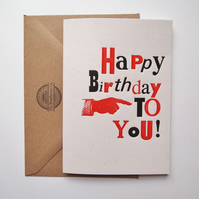 Happy Birthday letterpress typography design card print