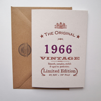 Letterpress birthday card 51st fifty 1966 51
