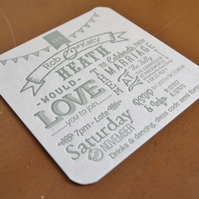 Beer mat coaster letterpress wedding invitation custom order bespoke