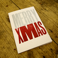 Merry Xmas letterpress Christmas greetings card