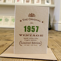 1957 letterpress 60th birthday card invitations