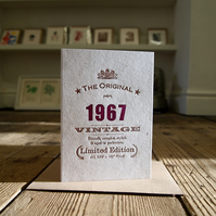 1967 fifty fiftieth 50 letterpress birthday card
