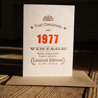1977 Forty Fortieth 40 letterpress birthday card