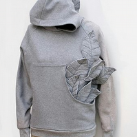 Handmade Hooded Sweatshirt with Leaves Coming out of Front Pouch Pocket