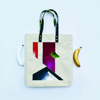 Abstract Composition 2 Tote Bag - Painting On Canvas, Napa Leather Straps