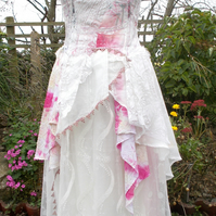 Wedding Bridal Gown Bohemian Gypsy Unique Wearable Art Shabby Chic Romantic