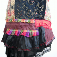 Handmade Christmas Skirt Patchwork Bohemian Steampunk Hippie Gypsy Wearable Art