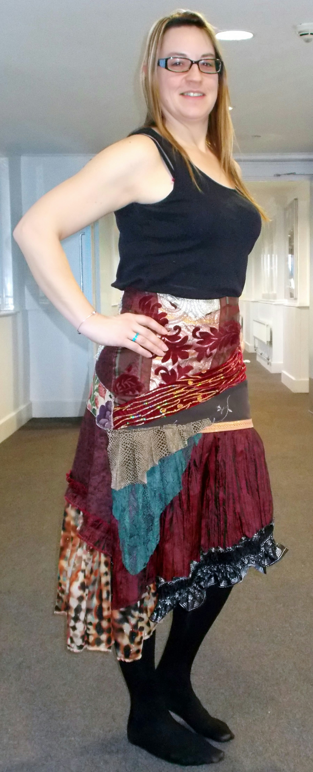 Red Ethnic Patchwork Skirt Bohemian Gypsy Shabby Chic RomanticFantasy Unique