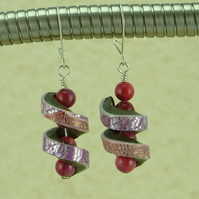 Spiral Wrapped Pink Coral and Polymer Clay Earrings