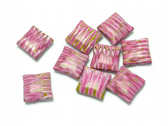 Pink Symmetrical Polymer Clay Pillow Beads