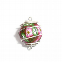 Wire Wrapped Millefiori Focal Bead Polymer Clay