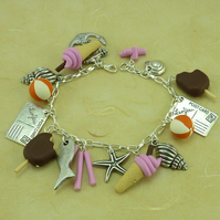 A Day at the Seaside Polymer Clay Charm Bracelet