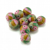 Polymer clay Millefiori Beads Grey and Pinks,  Flowers and Cupcakes