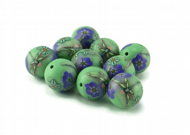 Dragonfly Millefiori Polymer Clay Beads