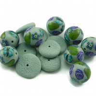 Blue Millefiori Polymer Clay Beads and Spacers