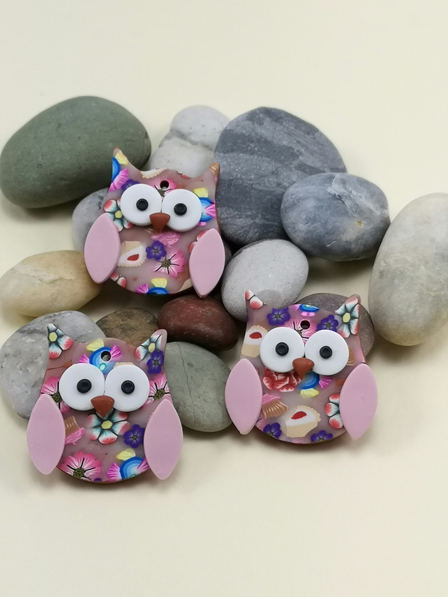 Polymer Clay Christmas Tree Decorations.Polymer Clay Owl Christmas Tree Decorations Set Of 3