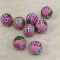 Pink Polymer Clay Millefiori Flower Beads