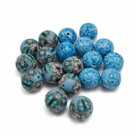 Polymer Clay Blue Bead Collection - Millefiori and Mottled Beads