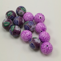 Purple Polymer Clay floral patterned beads with mottled spacers