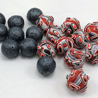 Polymer Clay Sputnik Beads - Red, Black and White with Spacers