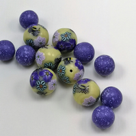 Polymer clay Millefiori Beads Yellow and Purple Nature Beads