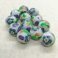 12 Polymer Clay Frog and Flower Millefiori Beads - Light Blue