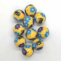 10 Golden Yellow Bumblebee and Flower Beads - Polymer Clay
