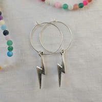 Lightning hoop earrings Silver hoop earrings Geometric jewelry