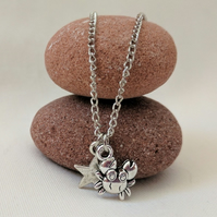 Silver star crab Charm Necklace Nautical Ocean pendant necklace FREE GIFT WRAP