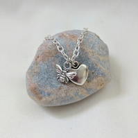 Silver Bee and heart charm necklace FREE GIFT WRAP