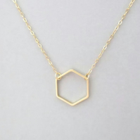 Hexagon Necklace Geometric chocker Necklace Minimalist FREE GIFT WRAP