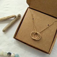 Gold Three Ring Necklace Triple Ring Necklace FREE GIFT WRAP & UK SHIPPING