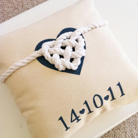 Personalised 'Tied the knot' wedding cushion