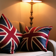 "20""  Beautiful handmade patchwork cushion in a Union Jack theme"