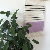 Handwoven Wall Hanging Tapestry Hand Made Boho Pink Violet Decor