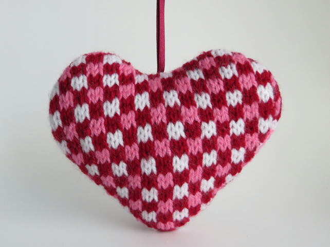 Knitted Red Gingham Lavender Heart