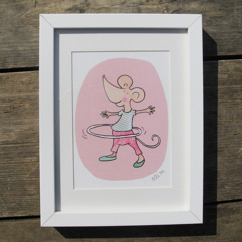 "Betty the Hula Mouse 7"" x 5"" print"