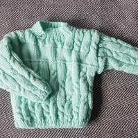 Hand Knitted Pale Green Aran Jumper